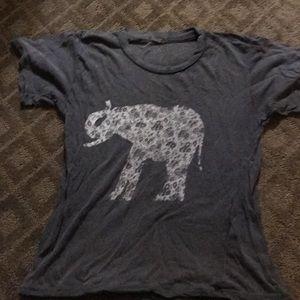Rare brandy Melville shirt floral elephant grey